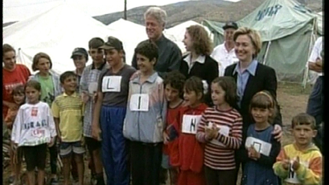 The Clintons Visit a Kosovo Refugee Camp